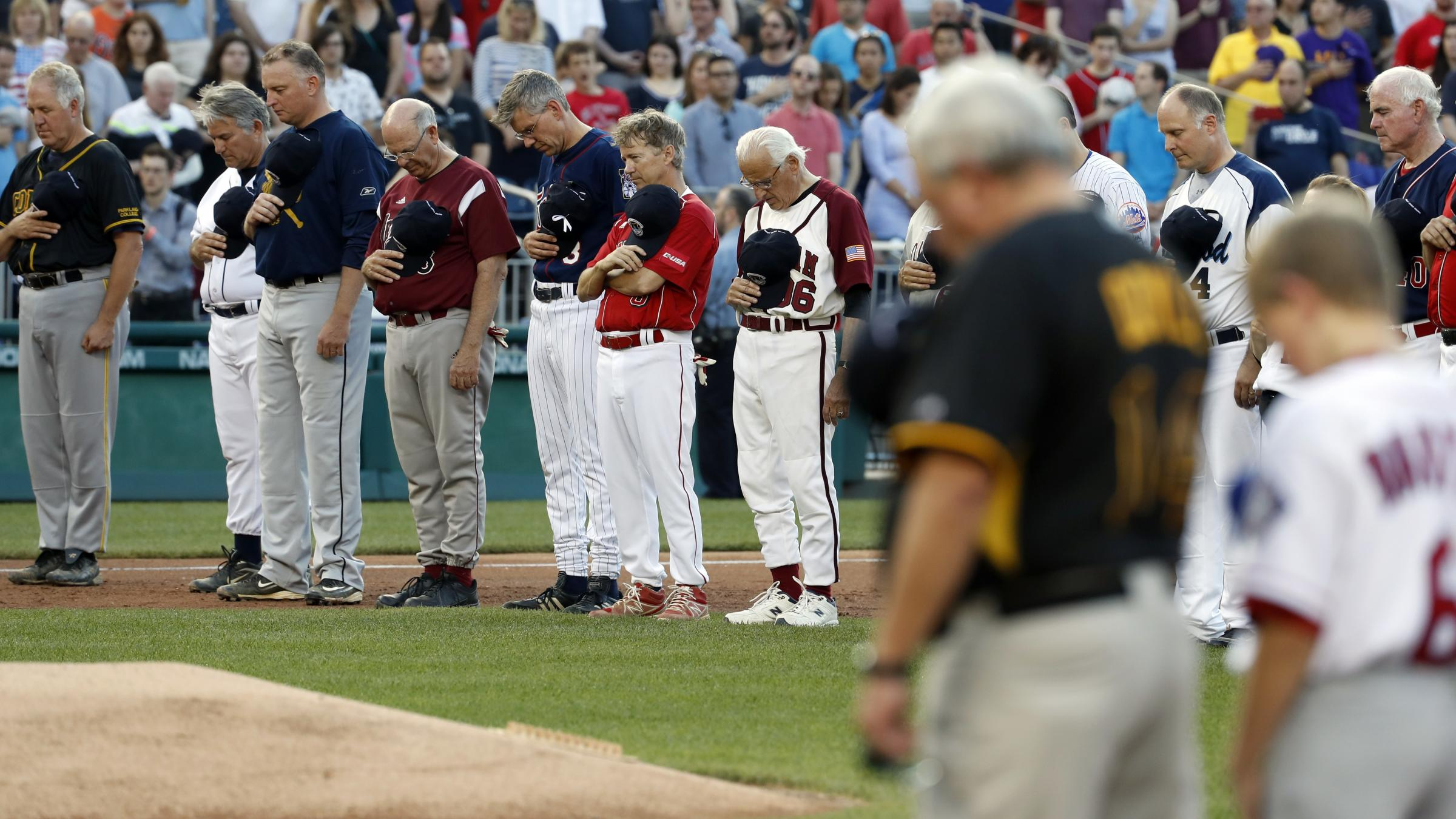 Watch the Congressional Baseball Teams Come Together For Emotional Moment of Prayer